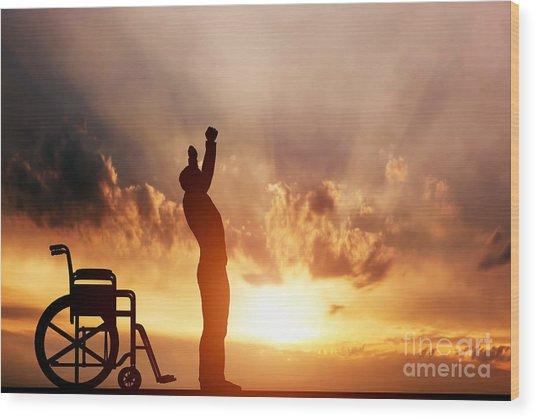 A Disabled Man Standing Up From Wheelchair Wood Print