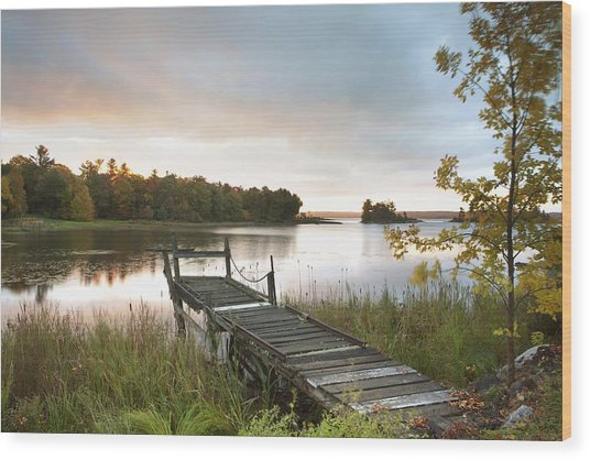 A Dock On A Lake At Sunrise Near Wawa Wood Print