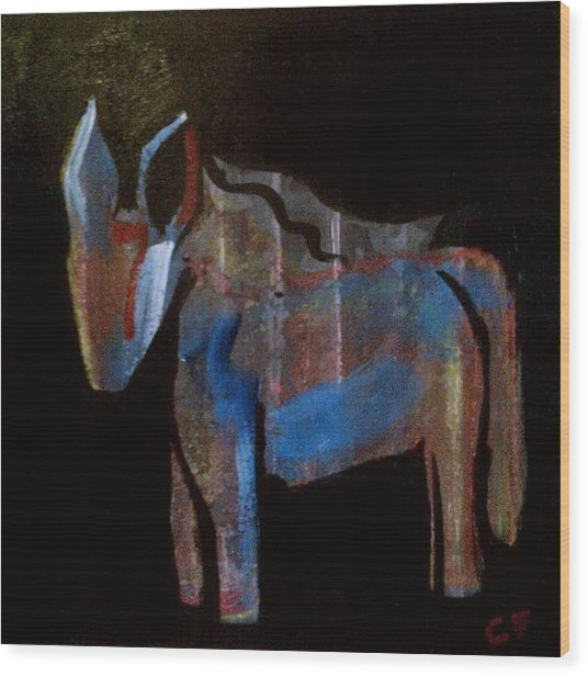 A Donkey Named Frog Wood Print