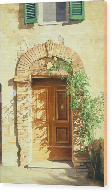 Wood Print featuring the painting A Doorway In Tuscany by Bob Nolin