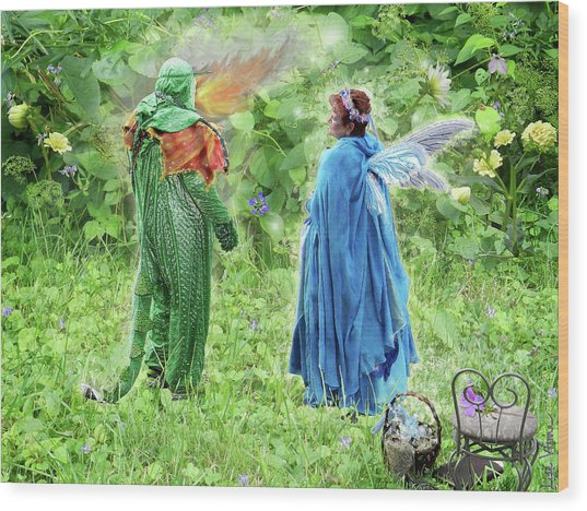 A Dragon Confides In A Fairy Wood Print
