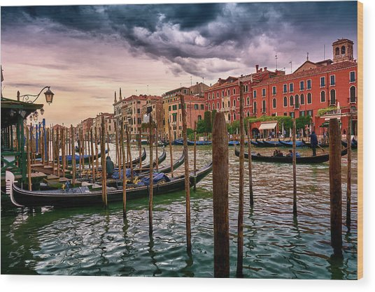 Vintage Buildings And Dramatic Sky, A Dreamlike Seascape In Venice Wood Print