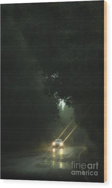 A Drive In The Rain Wood Print