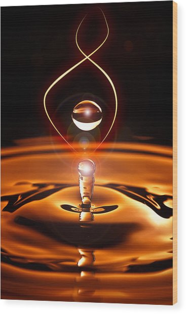 A Drop Of Light Wood Print