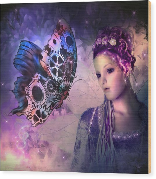 A Fairy Butterfly Kiss Wood Print