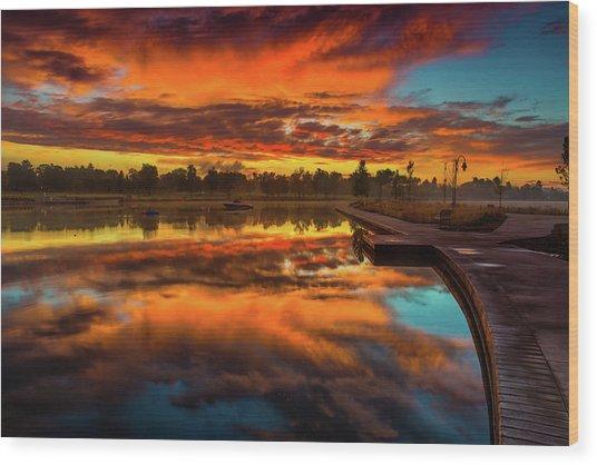 A Fall Sunrise Wood Print