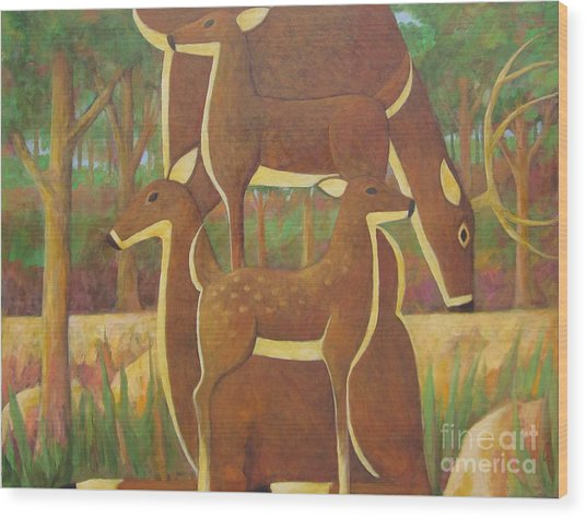 A Family Of Deer Wood Print by Glenn Quist