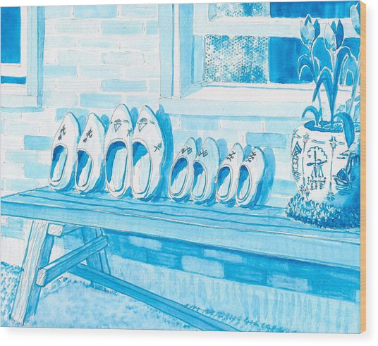 A Family Of Wooden Shoes  Wood Print