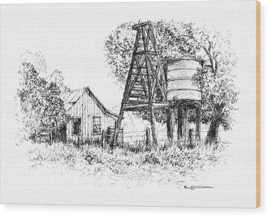 A Farm In Schroeder Wood Print