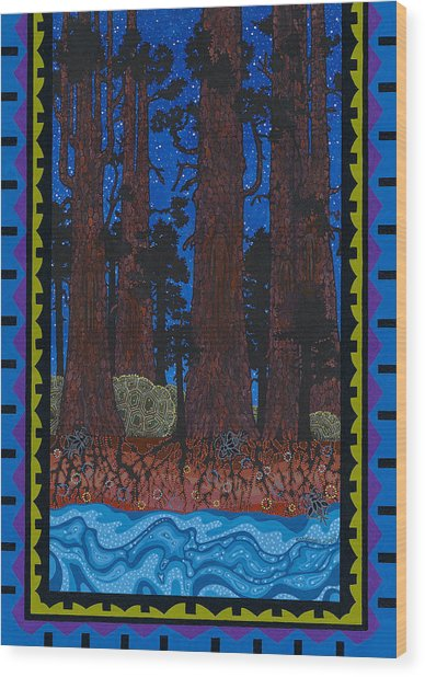 Wood Print featuring the painting A Forest Whispers by Chholing Taha