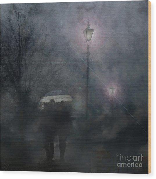 A Foggy Night Romance Wood Print