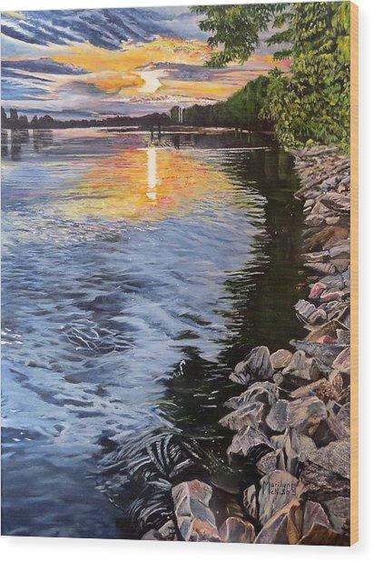 A Fraser River Sunset Wood Print