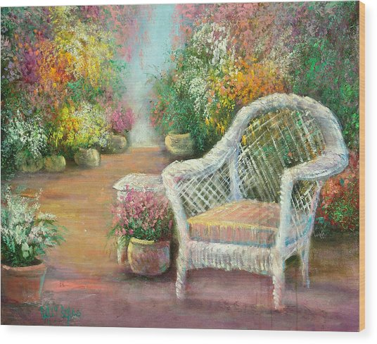 A Garden Chair Wood Print by Sally Seago