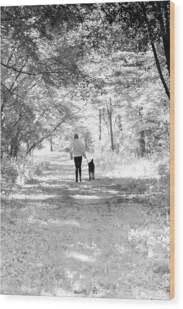 A Girl And Her Dog Wood Print