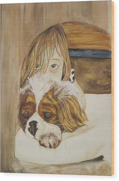 A Girl And Her Puppy Wood Print by Tabitha Marshall