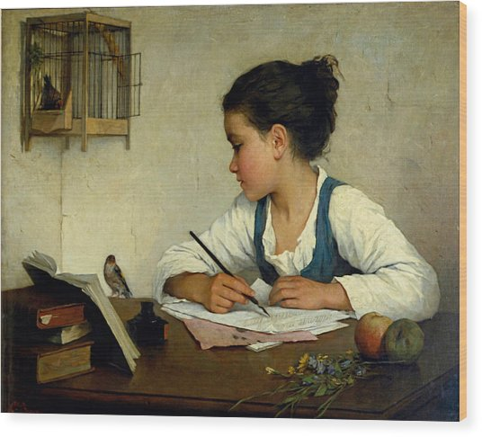 Wood Print featuring the painting A Girl Writing. The Pet Goldfinch by Henriette Browne
