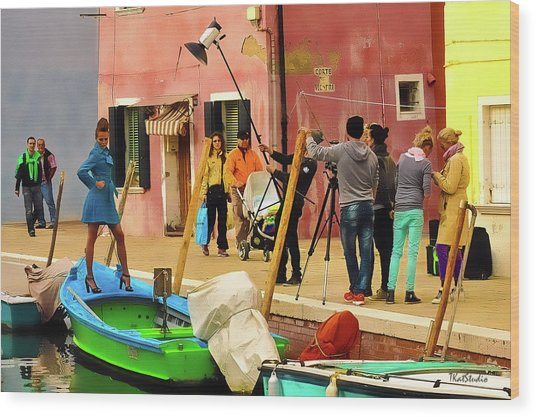 A Glamour Shoot In Burano Wood Print