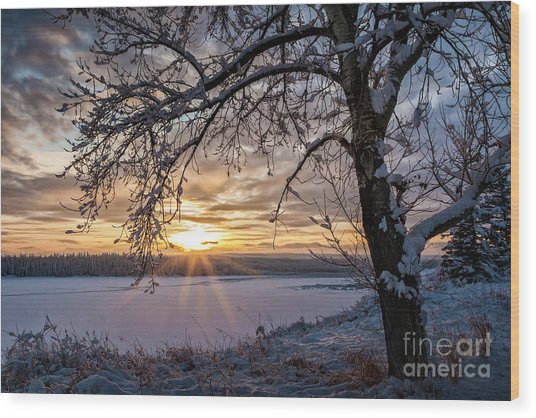 Wood Print featuring the photograph A Glenmore Sunset by Brad Allen Fine Art