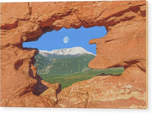 A Glimpse Of The Mighty Rockies Through A Rocky Window  Wood Print