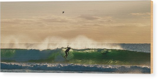 A Golden Surfing Moment Wood Print