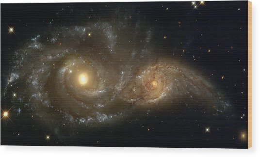 A Grazing Encounter Between Two Spiral Galaxies Wood Print