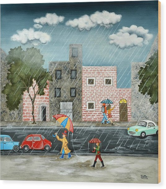 A Great Rainy Day Wood Print