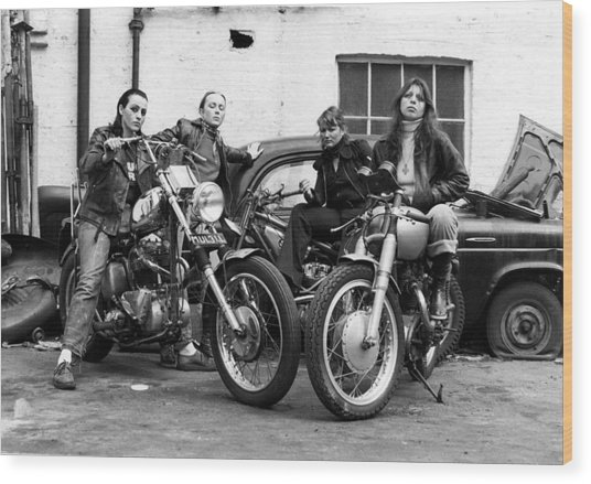 A Group Of Women Associated With The Hells Angels, 1973. Wood Print