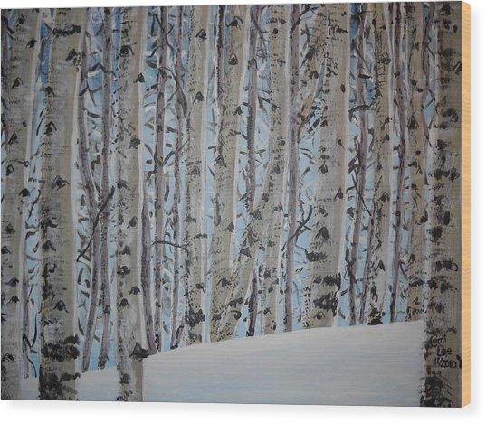 A Grove Of Aspens Wood Print