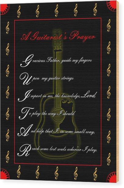 A Guitarist Prayer_1 Wood Print by Joe Greenidge