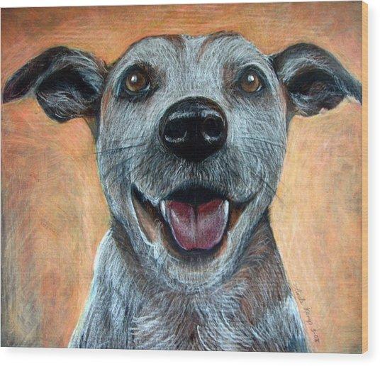 A Happy Mutt Wood Print