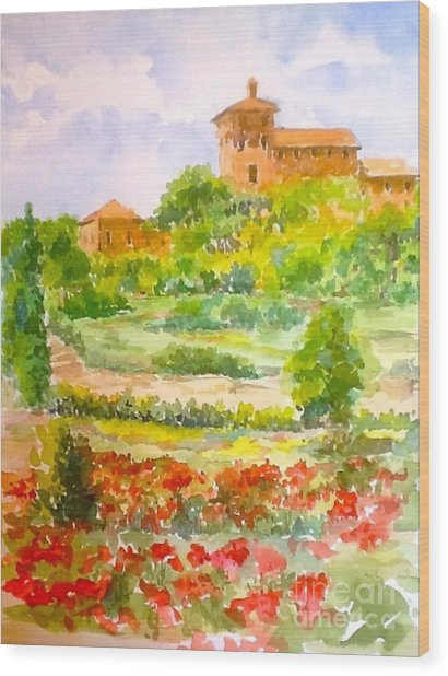 A Hillside Near San Gimignano Wood Print
