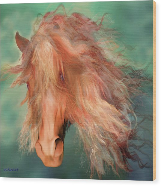 Wood Print featuring the painting A Horse Called Copper by Valerie Anne Kelly