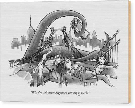 A Huge Octopus Tentacle Wraps Over A Brigde Wood Print