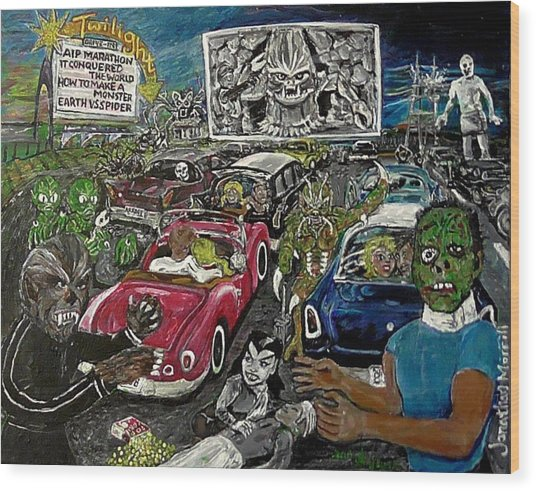 A I P Monster Movie Marathon At The Twilight Drive - In  La Porte Indiana Wood Print