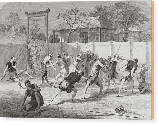 A Japanese Fencing School In The 19th Wood Print