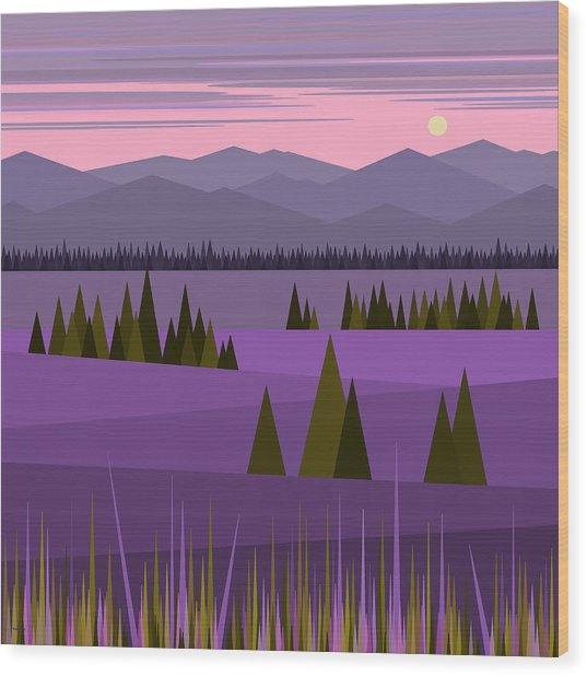 A Lake In The Mountains -  Pink Sky Wood Print