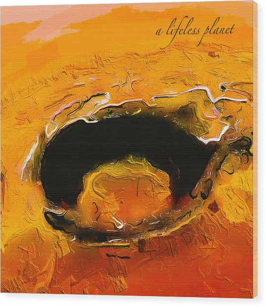 Wood Print featuring the digital art A Lifeless Planet Orange by ISAW Company