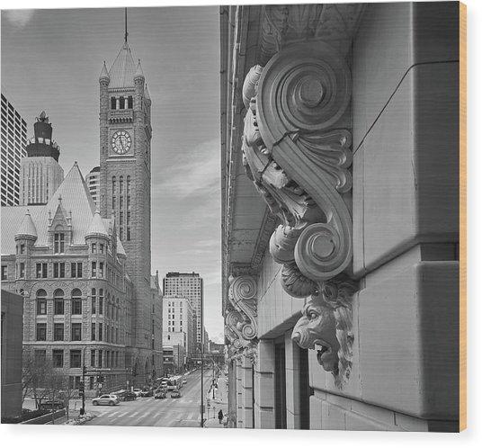 A Lion Guards  Minneapolis City Hall Wood Print