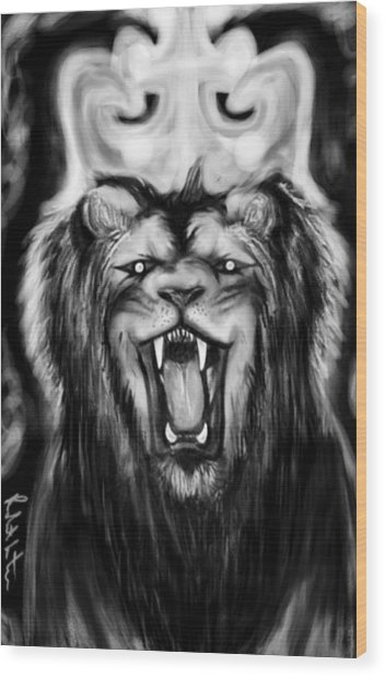 A Lion's Royalty B/w Wood Print