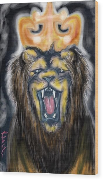 A Lion's Royalty Wood Print
