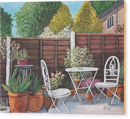 A Little British Garden Wood Print