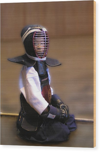 A Little Kendo Warrior Wood Print