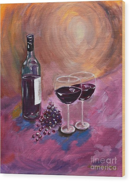 A Little Wine On My Canvas - Wine - Grapes Wood Print