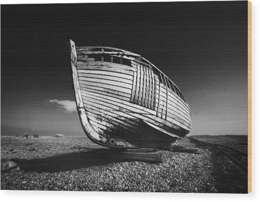 A Lonely Boat Wood Print
