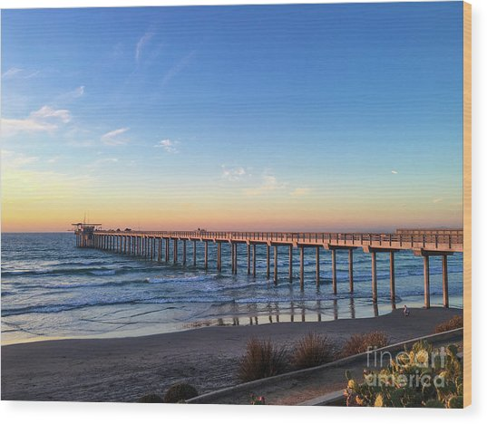 A Long Look At Scripps Pier At Sunset Wood Print
