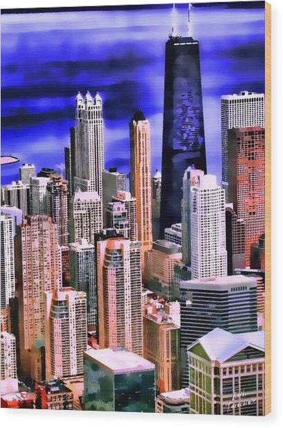 A Look At Chicago Wood Print by Kathy Tarochione
