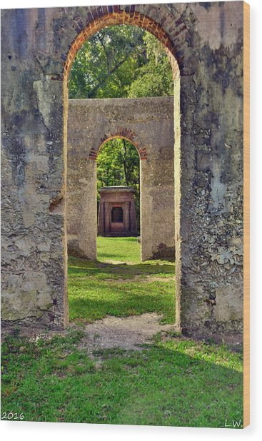 A Look Through Chapel Of Ease St. Helena Island Beaufort Sc Wood Print