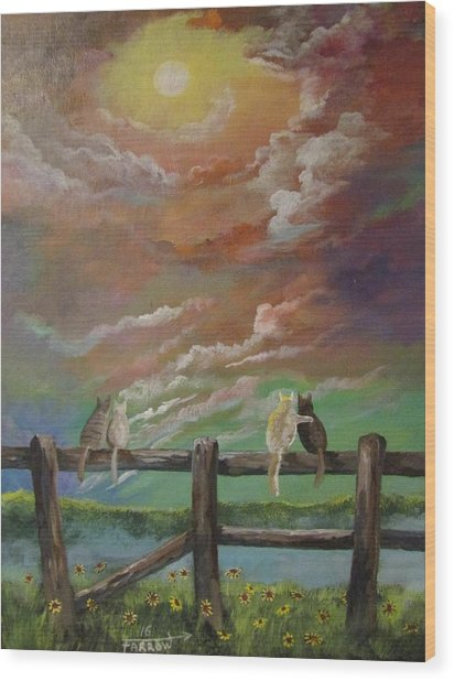 A Springtime Lovers Moon Wood Print