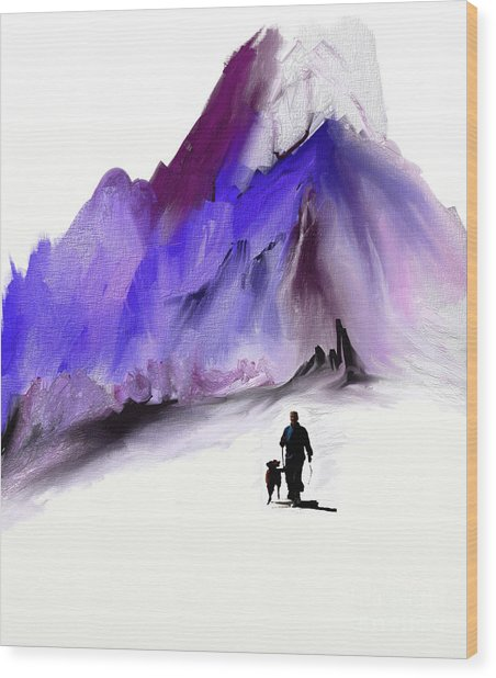 A Man And His Dog Wood Print by Jo Baby
