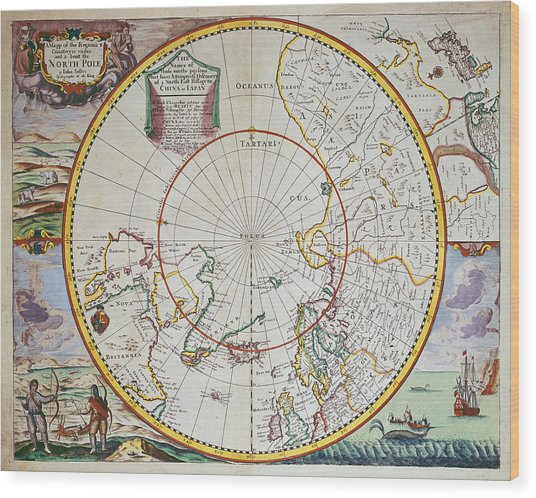 A Map Of The North Pole Wood Print
